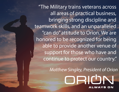 Orion Receives ESGR Patriot Award From US Department of Defense