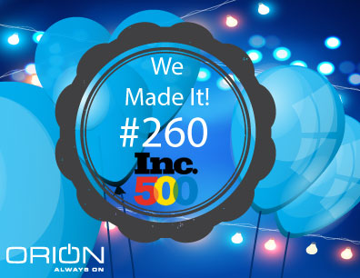 Orion Named to the 2016 Inc. 5000 List of America's Fastest Growing Private Companies